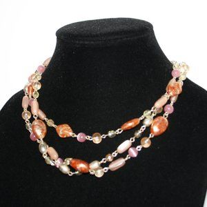 Vintagejelyfish Jewelry - Beautiful silver layered peach and orange necklace